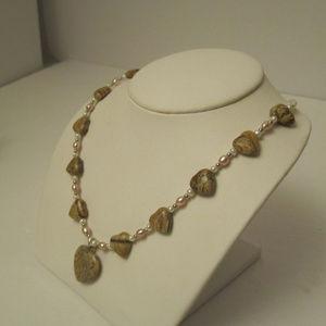 Jewelry - Jasper Heart and Pretty Pearl Necklace